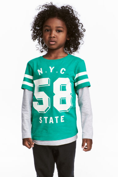 Jersey Top - Green/NYC - Kids | H&M CA