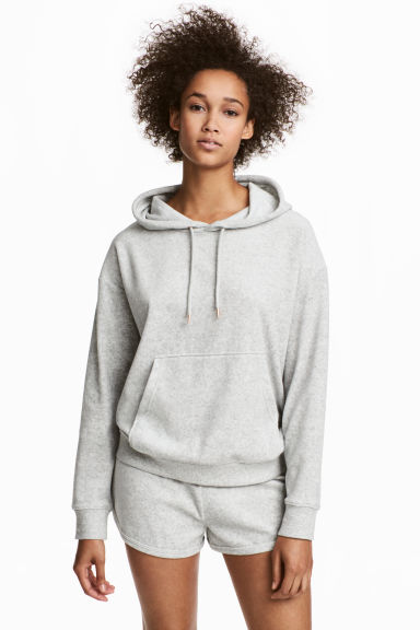 Pyjamas with a top and shorts - Grey/Velour - Ladies | H&M CN 1