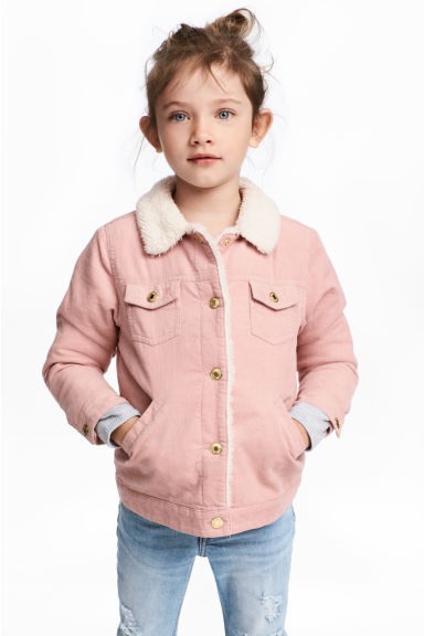 Pile-lined corduroy jacket - Powder pink -  | H&M 1