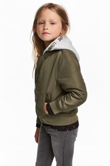 Hooded bomber jacket - Khaki green -  | H&M 1