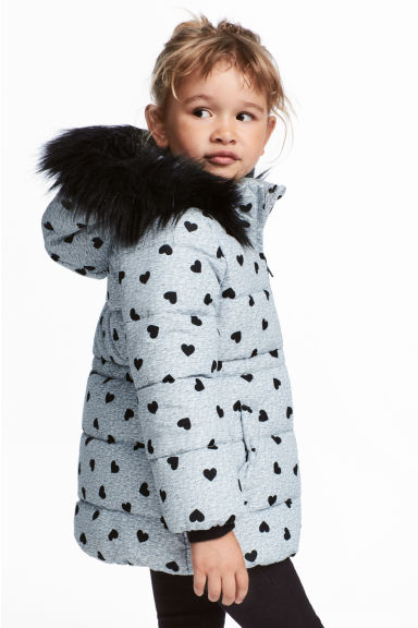 Padded Jacket - Dark gray/hearts - Kids | H&M CA