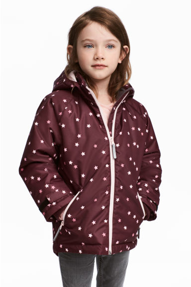 Outdoor jacket - Burgundy/Stars - Kids | H&M GB