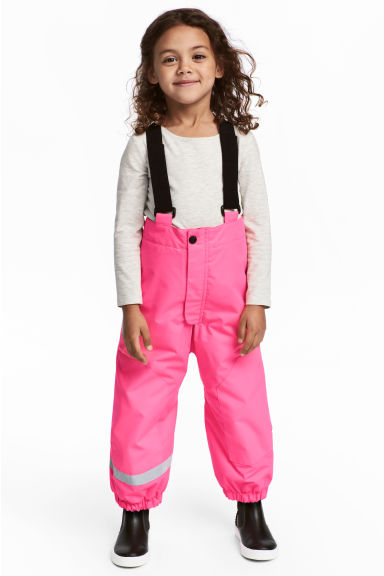 Outdoor Pants with Suspenders - Neon pink - Kids | H&M CA
