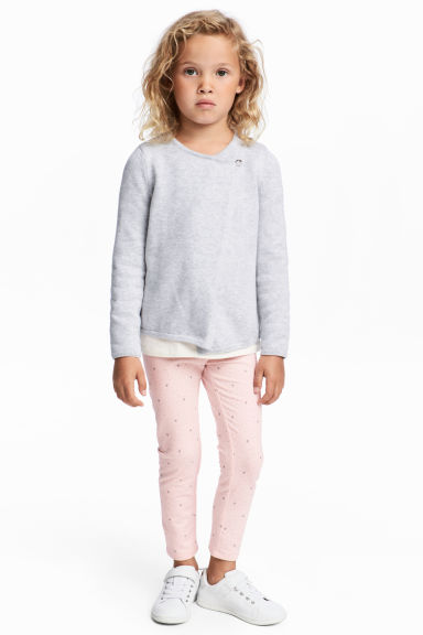 Sturdy jersey leggings - Light pink/Hearts - Kids | H&M IE
