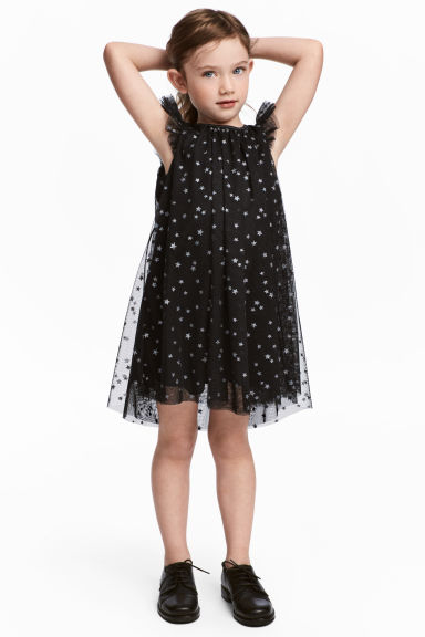 Glittery tulle dress - Black/Stars - Kids | H&M 1