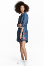 Denim dress with embroidery - Denim blue - Ladies | H&M CN 1