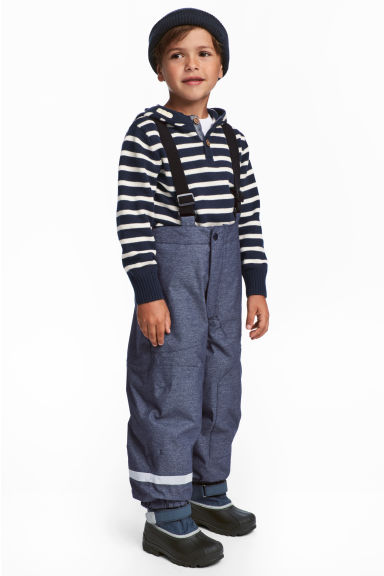 Outdoor trousers with braces - Dark blue marl - Kids | H&M
