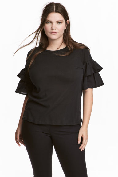 H&M+ Jersey flounce-sleeve top - Black - Ladies | H&M 1