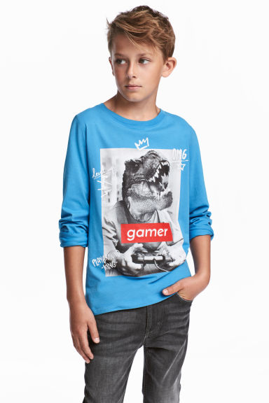 Printed jersey top - Blue/Dinosaur -  | H&M 1