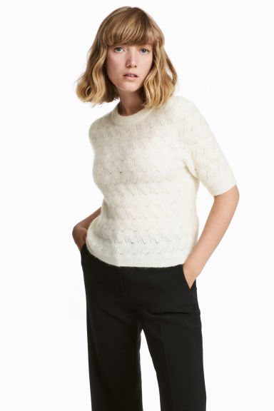 Mohair-blend Sweater - Natural white - Ladies | H&M CA 1