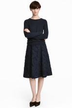 Jacquard-patterned skirt - Dark blue -  | H&M CN 1
