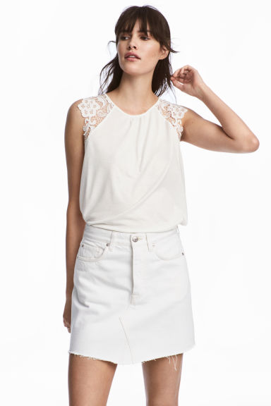 Jersey top with lace - White - Ladies | H&M 1