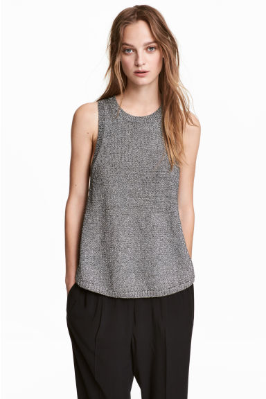 Glittery knitted top - Silver - Ladies | H&M CN 1