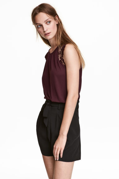 Top in jersey con pizzo - Prugna - DONNA | H&M IT 1