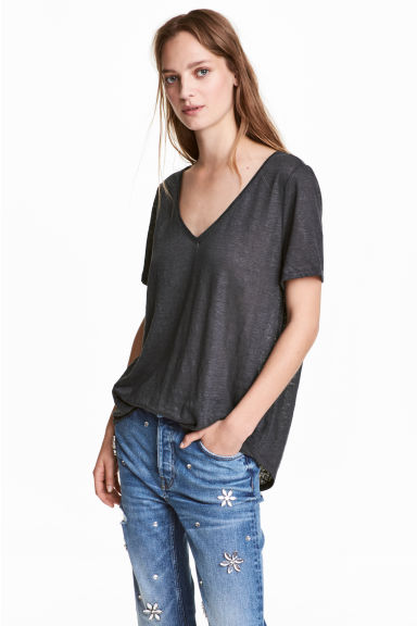 Linen V-neck top - Dark grey marl -  | H&M GB