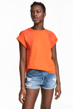 Embroidered top - Orange - Ladies | H&M CN 1