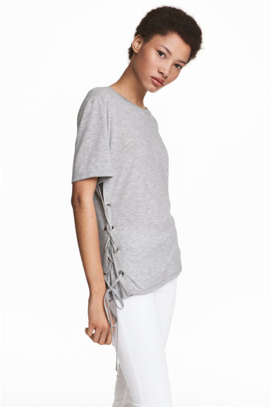 Top with lacing - Grey marl - Ladies | H&M CN 1
