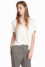 Linen V-neck top - White marl - Ladies | H&M CN 1