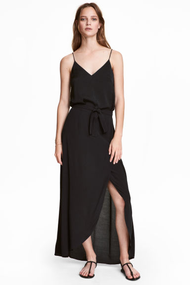 Long wrapover skirt - Black - Ladies | H&M CN