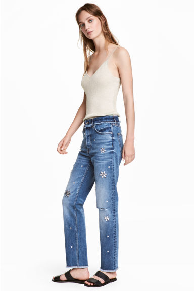 Slim High Jeans with diamante - Denim blue - Ladies | H&M 1