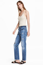 镶人造钻石Slim High Jeans - 牛仔蓝 - Ladies | H&M CN 1