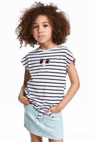 印花綁帶上衣 - White/Striped - Kids | H&M 1