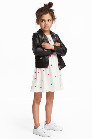 Jersey dress - White/Heart - Kids | H&M CN 1