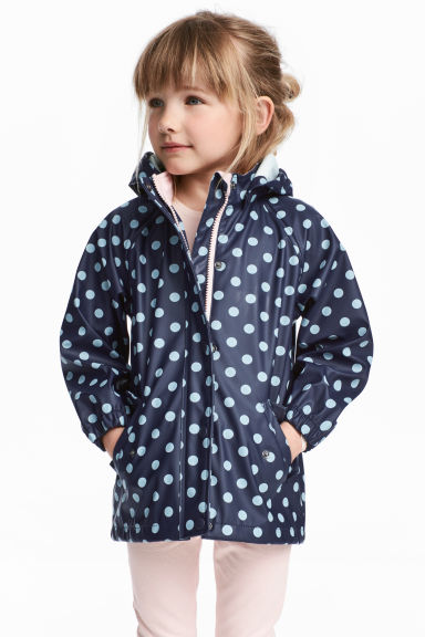 Rain jacket with hood - Dark blue/Spotted - Kids | H&M CN