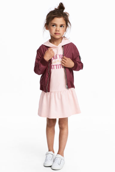Jersey dress with a hood - Light pink - Kids | H&M 1