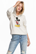 Printed hooded top - Grey/Mickey Mouse - Ladies | H&M 1