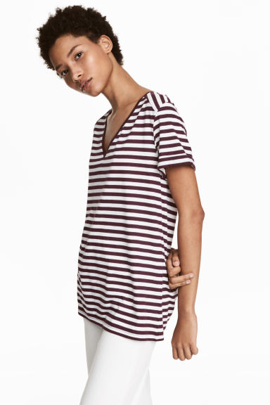 V-neck Top - Burgundy/striped -  | H&M CA 1
