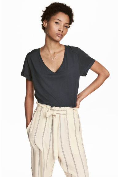 V-neck top - Blue -  | H&M