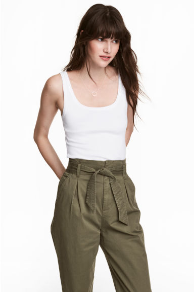 Katoenen topje - Wit -  | H&M BE