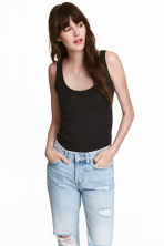 Cotton vest top - Black - Ladies | H&M IE 1
