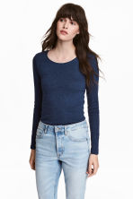 Long-sleeved jersey top - Blue marl - Ladies | H&M 1