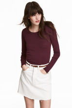 Long-sleeved jersey top - Burgundy - Ladies | H&M 1