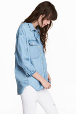 Oversized denim shirt - Light blue - Ladies | H&M CN 1