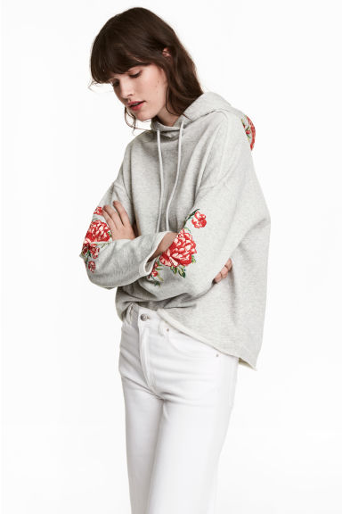 Hooded top with appliqués - Grey - Ladies | H&M 1