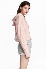 Cropped hooded top - Powder pink - Ladies | H&M 1
