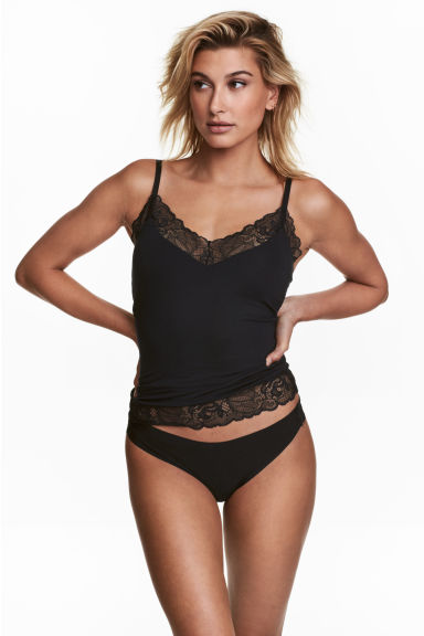 Strappy top with integral bra - Black - Ladies | H&M