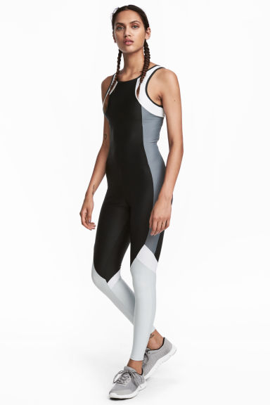Color-block Sport Jumpsuit - Black/gray -  | H&M CA