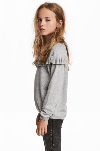 Fine-knit jumper with a frill - Grey marl -  | H&M 1