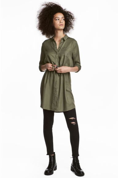 Shirt dress - Khaki green - Ladies | H&M 1