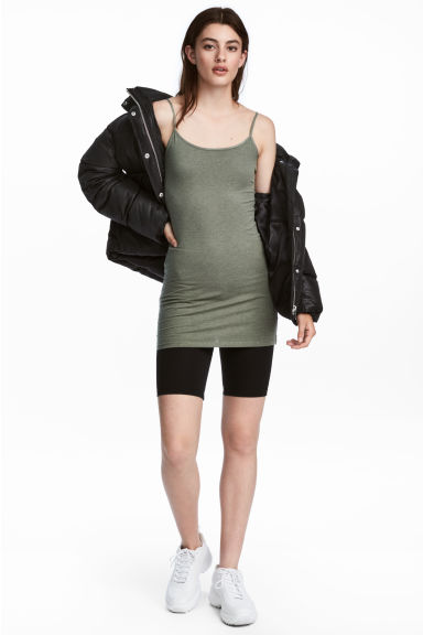 Long jersey strappy top - Khaki green - Ladies | H&M CN 1