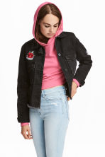 Denim jacket - Black denim/Rose - Ladies | H&M 1