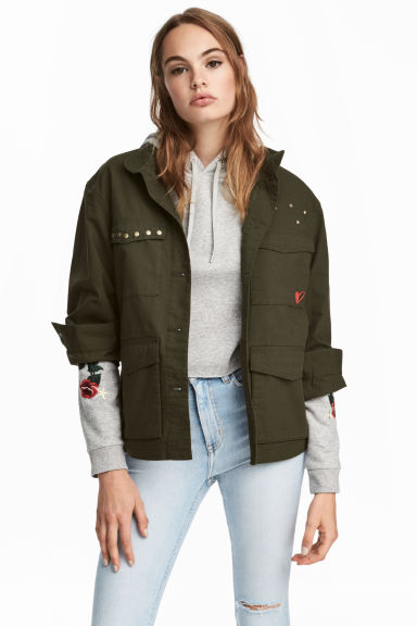 Cotton cargo jacket - Dark khaki green - Ladies | H&M CN 1
