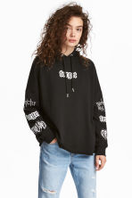 Printed hooded top - Black - Ladies | H&M 1
