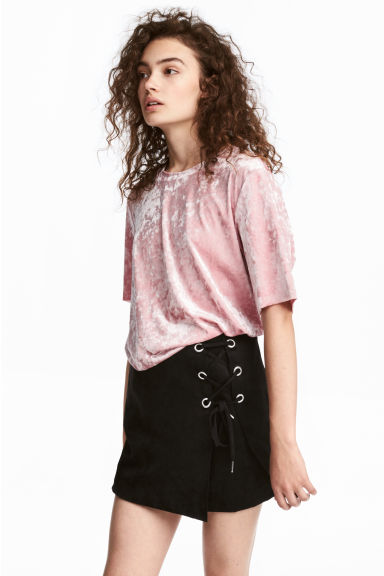 Crushed velvet T-shirt - Old rose - Ladies | H&M IE