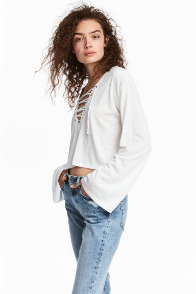 Jersey top with lacing - White -  | H&M CN 1