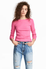 Ribbed Top - Pink -  | H&M CA 1